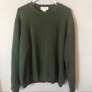 J. Crew Men's Dark Green Crewneck Sweater   Large